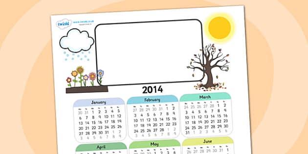 2014 Seasons Themed Editable Calendar - seasons, editable calendar, calendar, editable, themed calendar, date, photo calendar, themed editable calendar