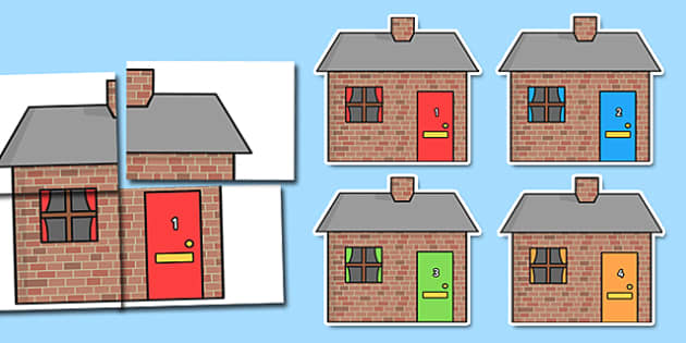 Brick Houses A2 Display Cut Outs with Numbers Posting Letters - house, home, numbers, post, letters, postman, postperson, deliver
