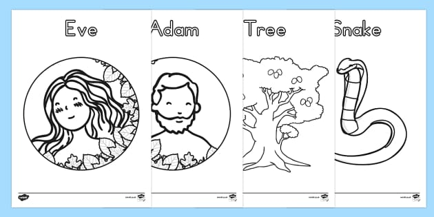 Adam and Eve Creation Story Colouring Sheets - usa, america, Adam, Eve, Eden, serpent, fruit, earth, garden, creation, creation story, colouring, fine motor skills, poster, worksheet, vines, A4, display, paradise, sea creatures, birds, stars, moon, s