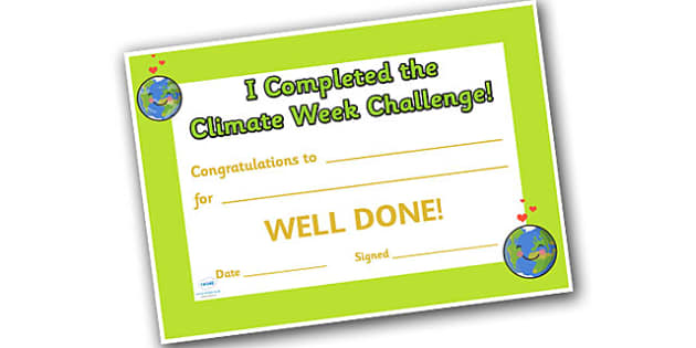 Climate Week Challenge Reward Certificate - reward, award, certificate, climates, climate week, climate reward certificate, reward certificate template