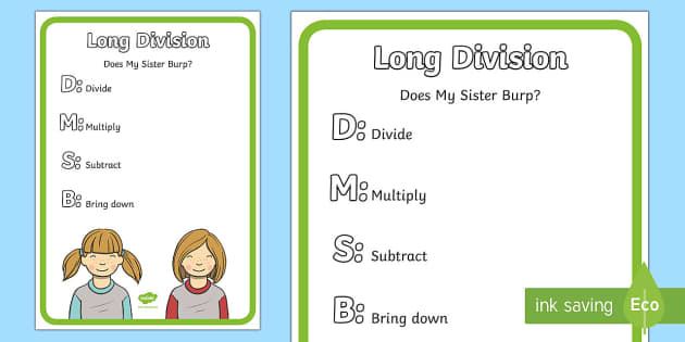 Long Division Display Poster - long division, strategy, operation, divide.