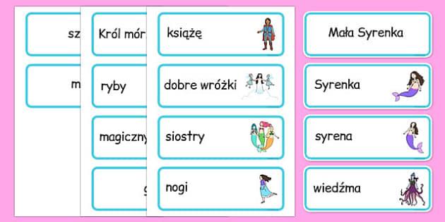 Karty ze słownictwem Mała Syrenka po polsku - lektury, bajki