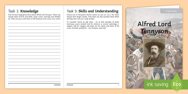 GCSE Poetry Alfred Lord Tennyson Poet Study Pack