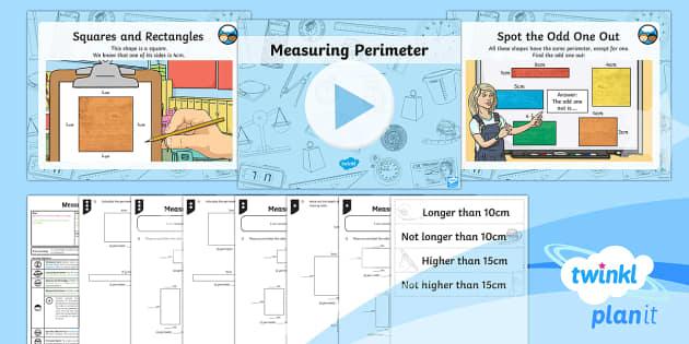 PlanIt Y3 Measurement Lesson Pack Perimeter (1) - measurement, perimeter, polygons, shape, measure the perimeter of simple 2D shapes. Maths, Y3, KS2.