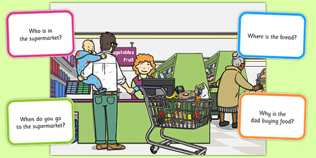 Supermarket Picture and Questions - Question words, Listening, Receptive language, Expressive language, Language activity