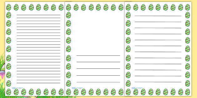 Striped Easter Egg Portrait Page Borders- Portrait Page Borders - Page border, border, writing template, writing aid, writing frame, a4 border, template, templates, landscape