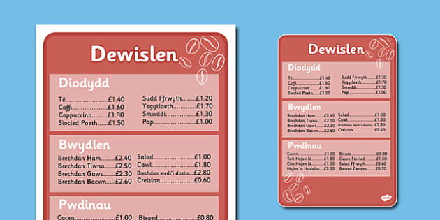 Cafe Menus Welsh Translation Full Version - roleplay, wales