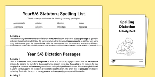 Y5/ Y6 Statutory Spelling Dictation Passages Assessment Pack