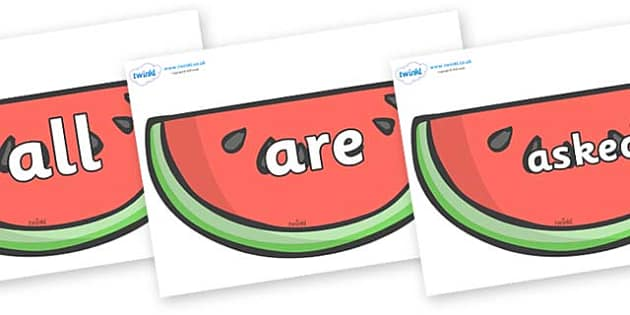 Tricky Words on Watermelons to Support Teaching on The Very Hungry Caterpillar - Tricky words, DfES Letters and Sounds, Letters and sounds, display, words