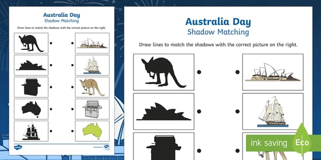 Australia Day Shadow Matching Activity Sheet - australia, matching