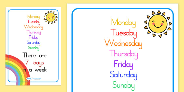 Visual Prompt Display Poster Days In A Week - days, weeks, poster