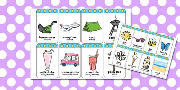Summer Flashcards Polish Translation - polish, summer, flashcards