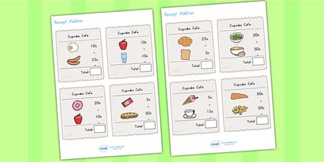 Receipt Addition Maths Activity Sheet Pack - reciept, adding, maths, worksheet