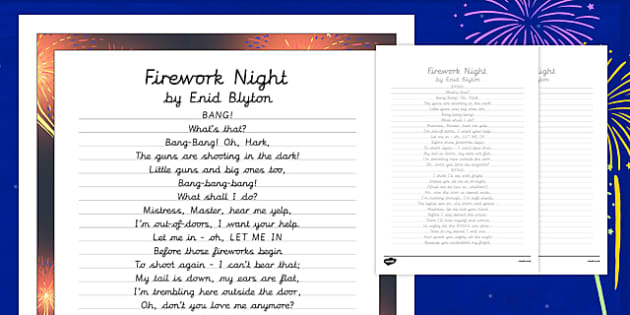 Firework Night by Enid Blyton Poem Handwriting Practice - poem, handwriting, practice, writing, firework night, enid blyton, bonfire night,