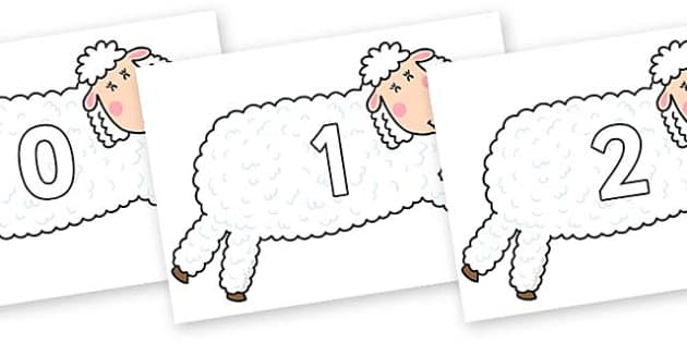 Numbers 0-31 on Hullabaloo Sheep to Support Teaching on Farmyard Hullabaloo - 0-31, foundation stage numeracy, Number recognition, Number flashcards, counting, number frieze, Display numbers, number posters