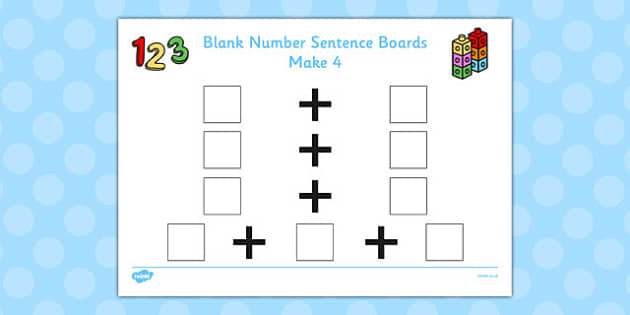Blank Number Sentence Boards to 10 Make 4 - sentence boards