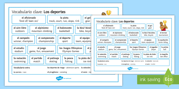 Sports Vocabulary Word Mat - Spanish, Vocabulary,free time, sports, word, mat.