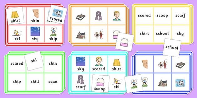 SC, SK Bingo - sc, sk, bingo, activity,  game, sen, sound, syllable