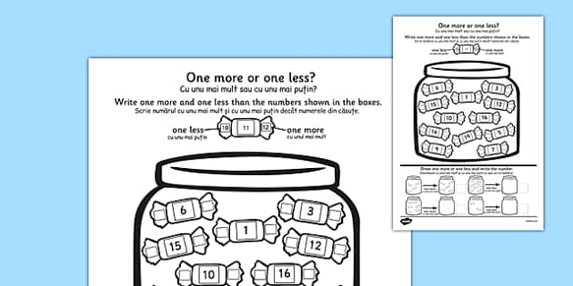 One More One Less Sweet Counting Worksheet Romanian Translation - romanian, count, numeracy