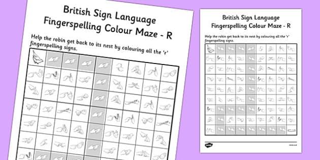 British Sign Language Fingerspelling Colour Maze R - colour, maze