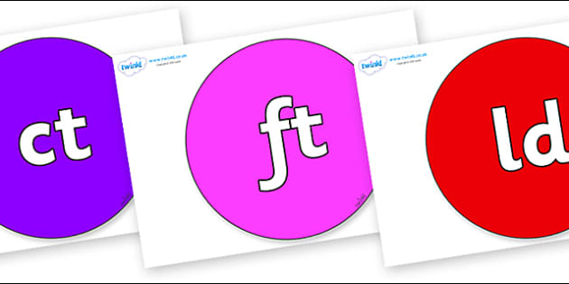 Final Letter Blends on Circles - Final Letters, final letter, letter blend, letter blends, consonant, consonants, digraph, trigraph, literacy, alphabet, letters, foundation stage literacy