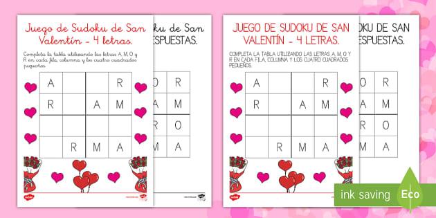 de Sudoko de San Valentín de 4 letras Juego - sudoku, juego, letras, san valentín,Spanish