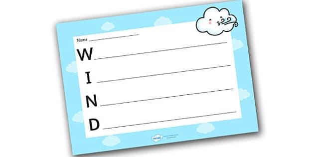 Wind Acrostic Poem Template - wind acrostic poem, weather acrostic poems, weather and seasons, wind acrostic template, wind poem template, wind, weather