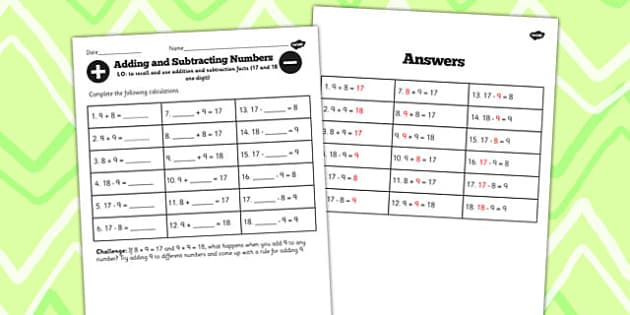 Number Facts to 17 and 18 Worksheet - number, facts, 17, 18, math