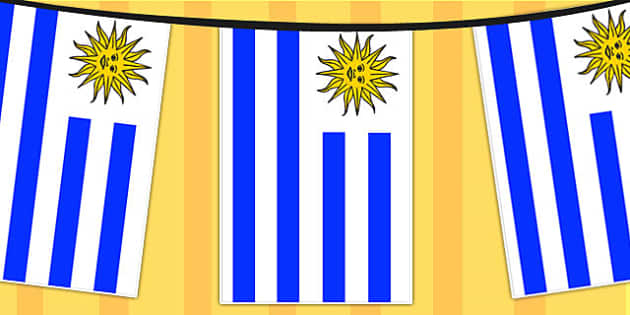 Uruguay A4 Flag Bunting - countries, geography, flags, country