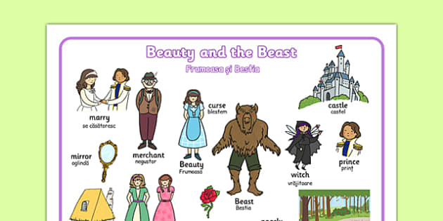 Beauty and the Beast Word Mat Romanian Translation - romanian, traditional tales, visual aids