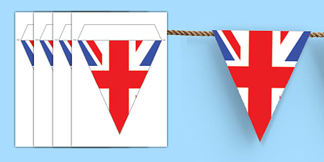 Make Your Own Union Jack Bunting - Union Jack, Bunting Great Britain, flag, make your own, creative, creativity, activity, british values