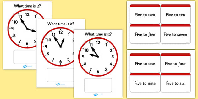 Analogue Clocks Matching Cards Five To - analogue clocks, matching cards, five to