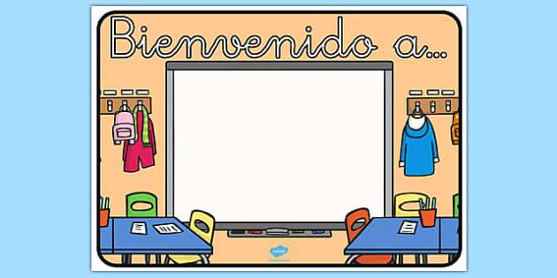 Póster - Bienvenido a.... - decoración, principio de curso, nombre de clase