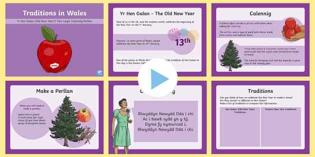 Welsh Traditions: The Old New Year Hen Galan PowerPoint - WL Hen Galan (Welsh New Year in Pembrokeshire- 13.1.17), calennig, perllan, blwyddyn newydd dda, Cym