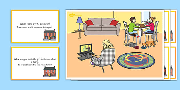 At Home Scene and Question Cards Romanian Translation - romanian, at home, questions, comprehension pack