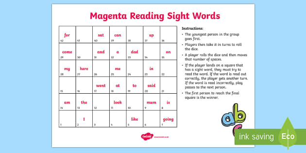 Magenta Reading Sight Words Board Game - Literacy, New Zealand, Reading, Magenta, Sight words, Colour Wheel