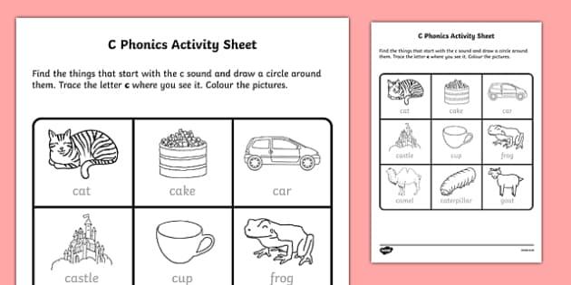 c Phonics Activity Sheet-Irish, worksheet