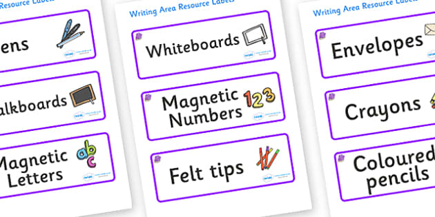 Amethyst Themed Editable Writing Area Resource Labels - Themed writing resource labels, literacy area labels, writing area resources, Label template, Resource Label, Name Labels, Editable Labels, Drawer Labels, KS1 Labels, Foundation Labels, Foundati