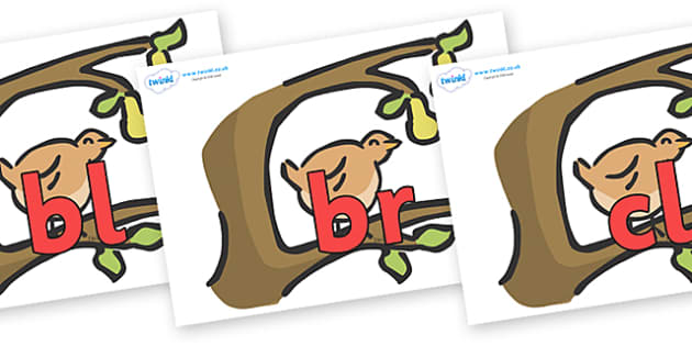 Initial Letter Blends on Partridge in a Pear Tree - Initial Letters, initial letter, letter blend, letter blends, consonant, consonants, digraph, trigraph, literacy, alphabet, letters, foundation stage literacy