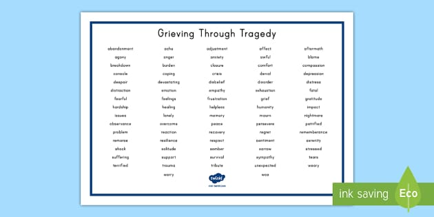 Grieving Through Tragedy Word Mat - Grieving Through Tragedy