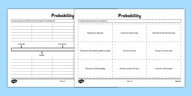 Probability Activity Sheet - Second Level, probability, chance