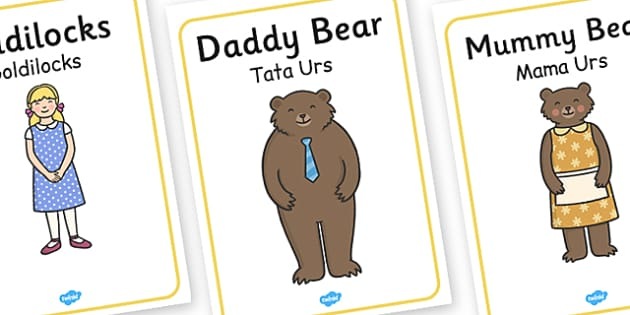 Goldilocks Three Bears Posters Romanian Translation - romanian