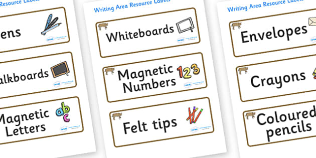 Bobcat Themed Editable Writing Area Resource Labels - Themed writing resource labels, literacy area labels, writing area resources, Label template, Resource Label, Name Labels, Editable Labels, Drawer Labels, KS1 Labels, Foundation Labels, Foundation