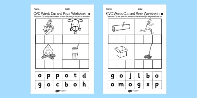 CVC Words Cut and Paste Worksheets o - CVC worksheets, CVC words