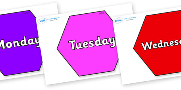 Days of the Week on Hexagons - Days of the Week, Weeks poster, week, display, poster, frieze, Days, Day, Monday, Tuesday, Wednesday, Thursday, Friday, Saturday, Sunday