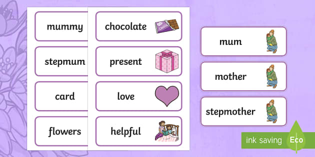 Mother's Day Word Cards - mothers day, sen, word cards, special educational needs