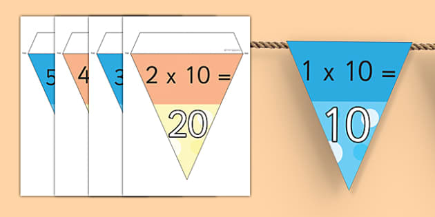 10 Times Table Bunting - multiplication, displays, display, tables