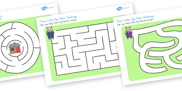 Three Little Pigs Differentiated Maze Activity Sheets - australia, worksheet
