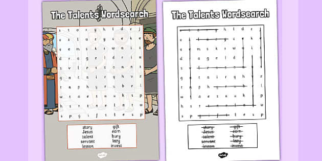 The Talents Wordsearch - talents, parables, wordsearch, search