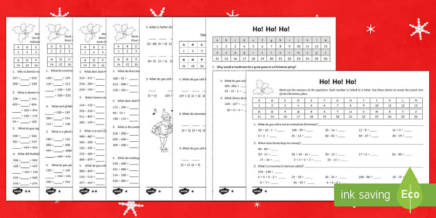 LKS2 Maths Christmas Jokes Activity Sheet Pack - Christmas, Nativity, Jesus, xmas, Xmas, Father Christmas, Santa, maths, addition, subtraction , mult